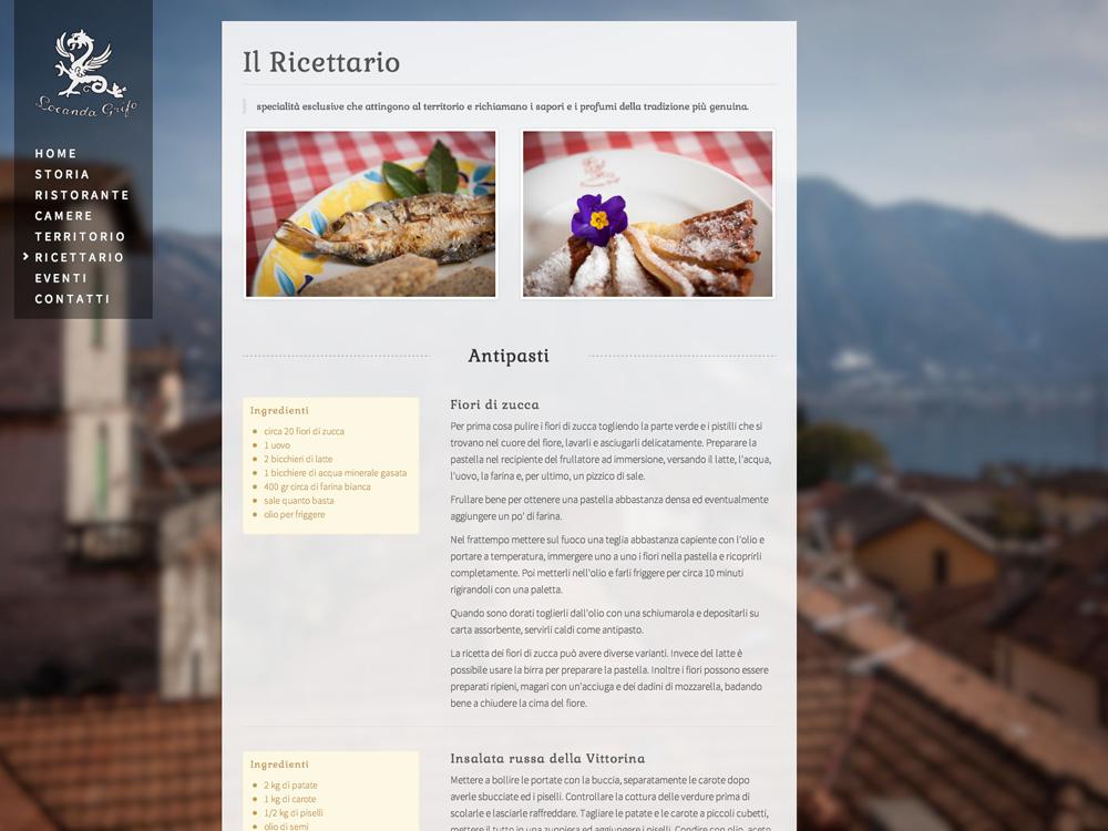 Realizzazione siti web ristoranti e alberghi sul Lago di Como: Grifo